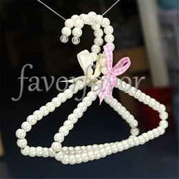 Wholesale Clothes Kid Hanger - Free Shipping 50PCS Mix 2Colors Plastic White Pearl Clothes Hangers 20cm Baby Cloth Pet Cloth Kids and Clothing Store Supplies
