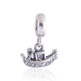 Wholesale Dangling Charm Heart - Authentic 925 Sterling Silver Beads Gondola Dangle Charm Fits European Pandora Style Jewelry Bracelets & Necklace 791143CZ