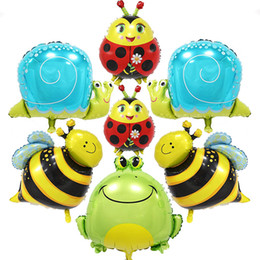 Wholesale Balloon Bee - large animals shaped foil Balloons cartoon Bee&snails&butterfly&Frog&Ladybug helium ballon birthday party supplies kids toy