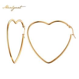 Wholesale Circle Shaped Earrings - Wholesale- Meaeguet Woman's Elegant Simple Big Heart Shaped Earring in Gold-Color Hollow Circle Hoop Earrings Ear Stud Lady's Jewelry