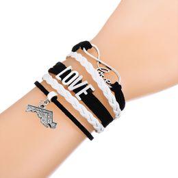 Wholesale Engraving Leather Bracelets - Fashion Multi-layer Braided Infinity LOVE Engraved Maryland & Massachusetts Map Bracelets Leather Adjustable Bracelet for Women & Men