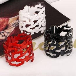 Wholesale Modern Cuff Bracelet - Wholesale- 2016 Hot Sale European And American Style Hollow Acrylic Wide bracelet Modern Design Ladies Jewerly Good Gift For Woman