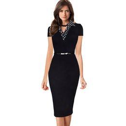 Vestidos de mujer de negocios equipados online-Elegante vestido de verano ajustado Mujeres de manga corta punto Turn-down collar botón desgaste para trabajar vestido de oficina formal de la oficina lápiz vestido con cinturón