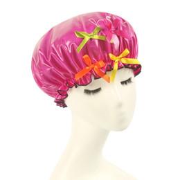Wholesale Waterproof Spa Hats - Wholesale- High Quality Women Waterproof Shower Cap Elastic Band Bowknot Hat Hair Bath Shower Hat Cute Useful Spa Cap