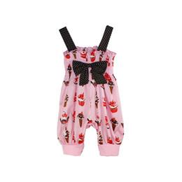 Canada Vêtements bébé fille crème glacée salopette pantalon à bretelles pantalon bébé belle arc combinaisons enfant été matériaux minces tenue 6p / l Offre