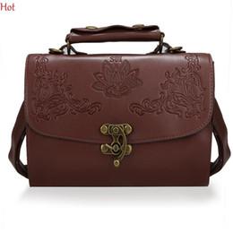 Wholesale Handbags Korea Wholesale - Wholesale- Hot New Vintage Bags Women Leather Korea Shoulder Bag Embossing Crossbody Bags Casual Retro Handbag Black Brown Flasp SV020888