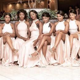 Wholesale Event Cheap Dresses - Gorgeous Halter Elastic Satin Long Bridesmaid Dress Black Girl Wedding Event Dresses Long Side Split elegant Maid Of Honor Dresses Cheap
