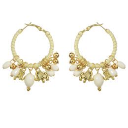Wholesale White Resin Elephants - Ethnic Style Jewelry Colorful Bead Resin Gold Elephant Charm Hoop Earrings for Women