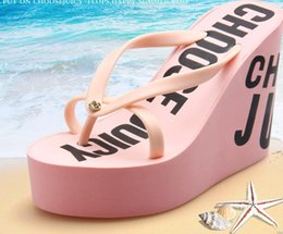 Wholesale Cheap Pink Wedges - hot new cheap high-heeled rubber slippers flip flops beach sandals slippers comfortable slope with thick sandals slippers size; 35-40