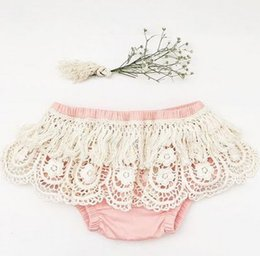 Wholesale Toddler Crochet Shorts - Baby girls lace shorts hot summer baby kids lace crochet falbala shorts toddler kids hollow tassel PP shorts Newborn cotton bLoomers T3524