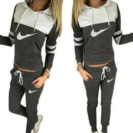 Wholesale Women S Track Suits - Fashion sports brand women's sports Sweatshirt +Pant Running Sport Track suits jogging sets Splicing color letters printed clothing