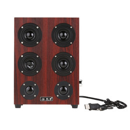 Wholesale Wooden Pc Speakers - Freeshipping HiFi Subwoofer speaker Wooden Leather 3.5mm Jack Speaker Music Stereo Sound System for desktop computer PC