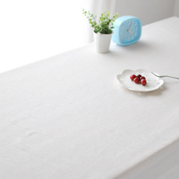 Wholesale Wedding Tablecloths Wholesale - Cotton and linen Tablecloth White Table Cover for Banquet Wedding Party Decoration Tablecloth for Livingroom Hotel Restaurant Conference