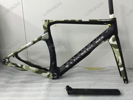Wholesale Bicycle Fork Sizes - Camouflage Color 3K Carbon Frame Road Bicycle Frame Size XXS XS S M L Mechanical or Di2 Bike Frame+Fork+Seat Post+Headset+Clamp