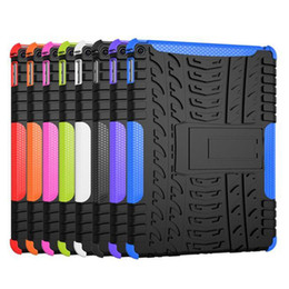 Wholesale Tablet Hard Silicon Case - 2 In 1 Tire Style Heavy Duty Impact Hybrid Armor Kick-stand Hard Case TPU PC Tablet Protective Cover for iPad 2 3 4   Air  Mini