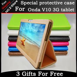 flip de la flor ipad mini Rebajas Al por mayor- Moda 2 veces Folio PU soporte de cuero caso de la cubierta para Onda V10 3G / 4G llamada teléfono 10.1 pulgadas tablet pc Multi-color opcional + regalo