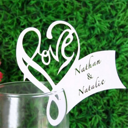 Wholesale Wedding Card Wine Glass - Wholesale-Paper Laser Cut Love Heart Table Name Place Escort Cup Card Wine Glass Cards Wedding Baby Shower Party Decorations 50PCS