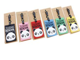 Wholesale Gel Labels - Travel Large Luggage Tag Cute Cartoon Silica Gel panda Suitcase Baggage Boarding Tags Portable Travel Label