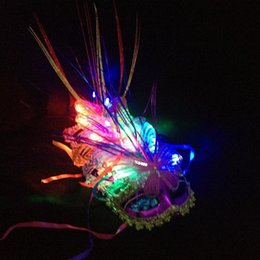 Wholesale Birthday Dress Women - LED Party Mask Enchanting LED Mask LED Glowing Masquerade Mask Carnival Stage Masks for Women Delicated Party Dress Dancing Birthday Masks