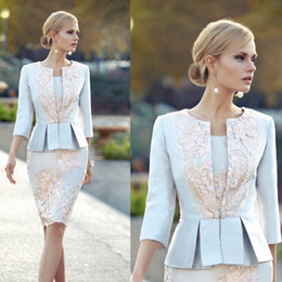 Wholesale cheap peplum wedding dresses - Cheap Appliqued Mother Of The Bride Dresses With 3 4 Sleeves Peplum Wedding Guest Dress Knee Length Plus Size Jacket Mothers Groom Gown