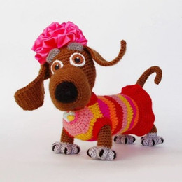 Wholesale Dachshund Toy - Wholesale- crochet little dachshund -girl Crochet Amigurumi doll toy rattle