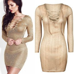 Wholesale Long Tight Lace Dresses - Slim Tight Bodycon Lace Up V-Neck Beach Short Mini Party Dress Long Sleeve Sexy see through Pullover Evening Cocktail Prom Dresses Clubwear
