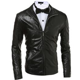 Простые куртки мужчины онлайн-Wholesale- Men's Foreign trade Explosion Models Solid color Simple and Stylish Slim Leather Jacket Black/Red/Dark Blue M-2XL