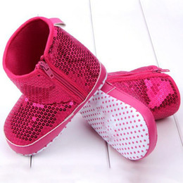 Wholesale Kids Bling Boots - Wholesale- 2017 Hot Sale Infant Kids Baby Girl Sequins High Boots Soft Bottom Anti-slip Walking Shoes