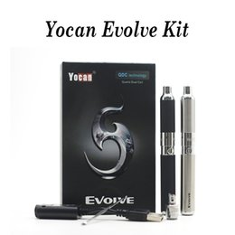 ego wax vaporizer pen Promo Codes - Authentic 1 pc Yocan Evolve Kit 650mAh QDC Wax Vaporizer E Cigarette Quartz Dual Coil Atomizer EGO Thread Starter Kits Vape Pen