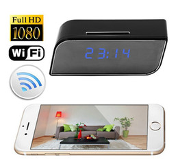 Wholesale Hd Mini Spy Camera Wireless - Mini Hidden Spy Camera Wireless IP Security Surveillance Camera Alarm Clock 1080P HD Live Stream Video Motion Detection Camcorder Recorder