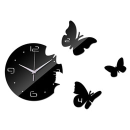 Wholesale Crystal Mirror Wall Stickers Decor - Wholesale-2016 Top Fashion Acrylic Mirror Round Clock Crystal Wall Clocks Butterflies Home Decor Living Room Modern Sticker Free Shipping