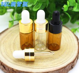 e amostras líquidas Desconto 3ML Empty E Liquid Sample Glass Amber Clear Bottle Perfume Vials 3 ml Glass Tubes with Black Gold Lid on Sale