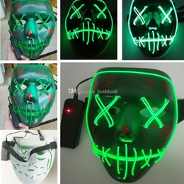 Wholesale Halloween Mask Luminous - Terror Led Glowing Masks EL Wire The purge Election Year Halloween Up Neon 3 Models Volto Full Face Mask Party Scarey Horror Luminous Mask
