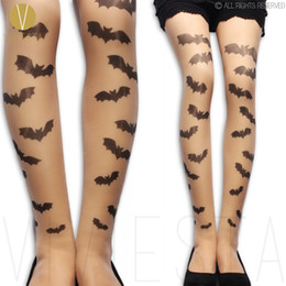 Wholesale Metal Tights - Wholesale- BAT PATTERN TATTOO TIGHTS - 20D Women's Sexy Gothic Goth Punk Metal Fashion Style Halloween Print Sheer Nude Stockings Pantyhose