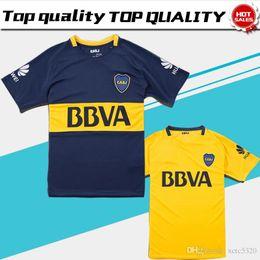 Wholesale Boca Juniors Shorts - Boca Juniors home blue Soccer Jersey 17 18 Boca Juniors away yellow soccer shirt 2018 Football uniforms sales