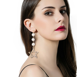 Wholesale Korean Black Pearl Earrings - Korean version of the new long paragraph lace with asymmetric earrings imitation pearl five - pointed star tidal current earrings long secti