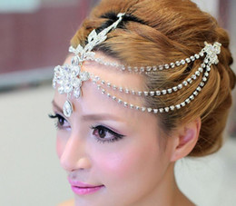 Wholesale Dangling Hair Accessories - Clear crystal dangle forehead headband tiara crown bridal pageant prom headpieces wedding teardrop hair jewelry accessories 1pc