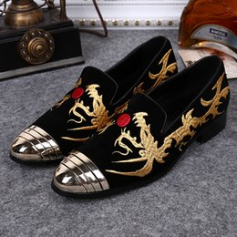 embroidery flat shoes Promotion Broderie artisanale Luxe Mains Métalliques Metal Toe Slip On Espadrilles Rihanna Creepers Casual Flats Shoes 2017 Man Party Wedding Shoes