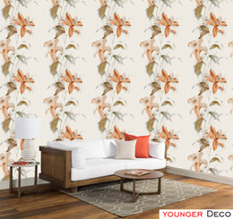 Wholesale Decorative Wallpaper Meters - Wholesale greenish lily flower pattern design wallpaper pink flower wall covering roll Decorative PVC Wall Paper For Living Room Bedroom