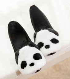 Wholesale Cotton Mouth Head - 2017 Europe and the United States new fashion round head shallow mouth with panda shoes suede feet lazy flat shoes