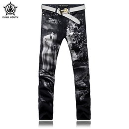 Wholesale Youth Hair - Wholesale- Punk Youth Men Fashion Long Hair Beauty Print Jeans Male Colored Drawing Painted Slim Denim Pants Black Trousers Free Shipping