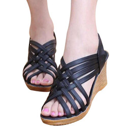 Wholesale Women S Fashion Sandals - Women 's Shoes Spring and Summer Soft Bottom Mama Shoes Comfortable Middle - Aged Shoes Thick Bottom with Slope Sandals