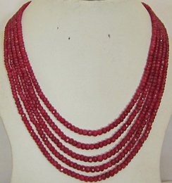 """Wholesale Ruby Faceted Necklace - Women Gift word Love Free shipping Stunning 5-row 2x4 mm natural faceted Red ruby abacus Beads necklace 17-21"""" WW"""