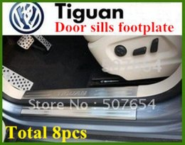 Wholesale Tiguan Door Sill Plate - High quality stainless steel 8pcs door sills scuff footplate,guard plates,protection bar with logo for Volkswagen Tiguan 2009-2015