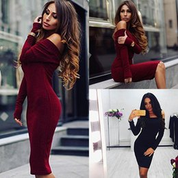 Wholesale Long Sleeve Knee Sweater Dress - Retail and wholesale 2017 New Fashion Womens Sexy Autumn Winter Long Sleeve Knit Slash Neck Bodycon Sweater Mini Dress Knitwear CL101