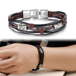Wholesale Black Chain Link Belt - hot sale jewelry fashion Retro fashion personality Bangle copper alloy buckle braided leather belt bracelet for men