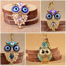 Wholesale crystal wedding keychain - 2017 Crystal Owl Nighthawk Charm Purse Handbag Car Key Keyring Keychain For Wedding Birthday Gift 4 Styles Free DHL C3L