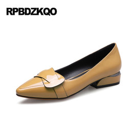 Wholesale Low Heel Formal Shoes Women - Patent Leather 2017 Pumps Size 33 Pointed Toe Office Work Formal Plus Red Low 4 34 Dress Shoes Heels Yellow High Women Court