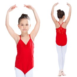 Wholesale Red Lace Camisole - Red and More Color Ballet Dance Leotard Cotton Lycra Lace Camisole Training Bodysuit for Kids and Girls