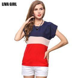 Wholesale America T Shirt Small - Europe and America large size short sleeved chiffon shirt, three color stitching, small fresh spell shirt T-shirt